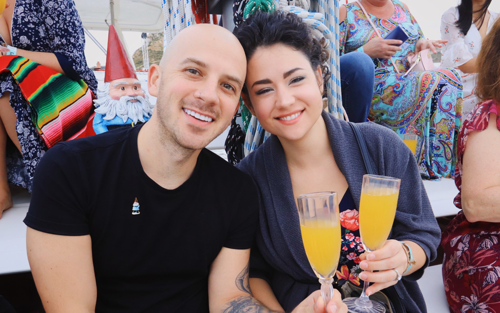 Enjoying the welcome mimosas on the sunset cruise