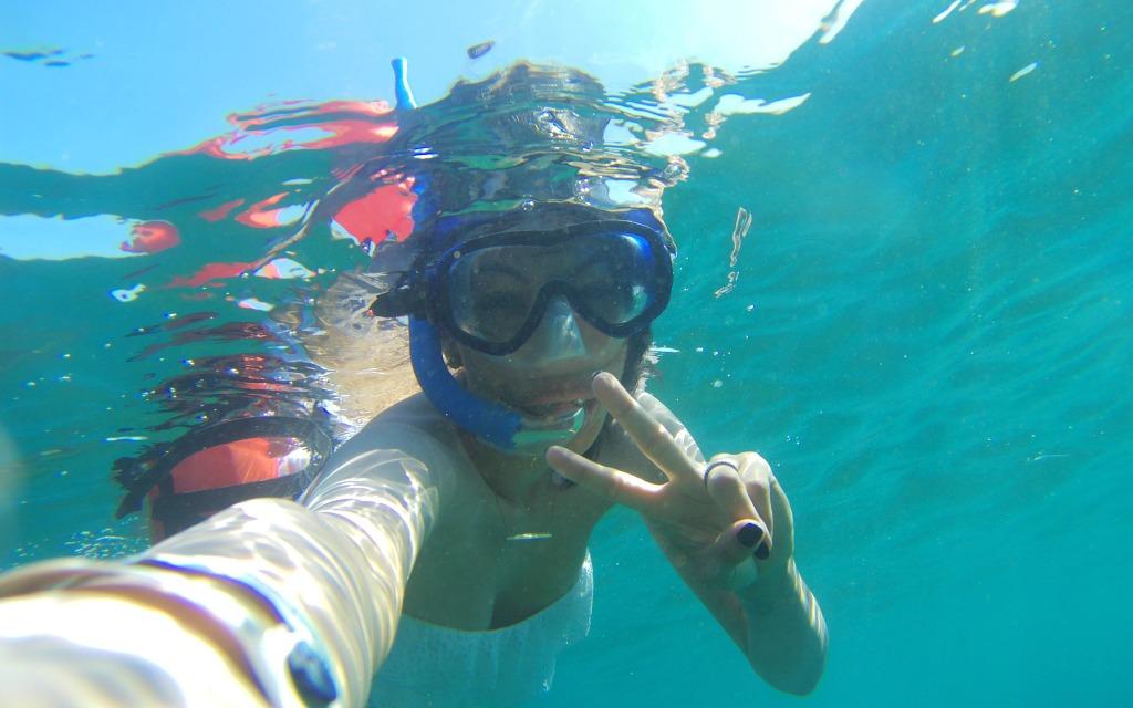 Pattie Cordova snorkeling in Los Cabos with Cabo Adventures - Travelocity.com - #Gnomads #GnomadsTakeOverCabo #LosCabos #familytravel