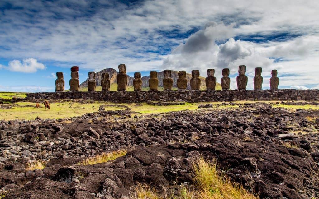 South America - The famous Moai of Easter Island, at Tongariki