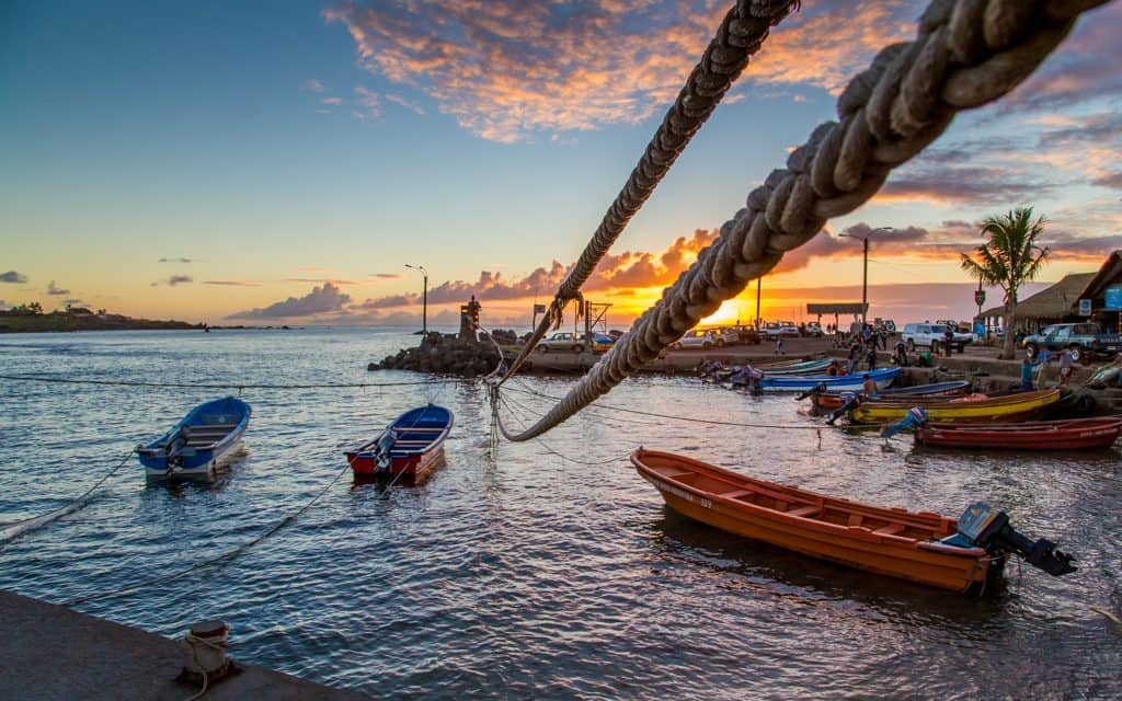 South America - Hanga Roa, Easter Island at sunset is perfect