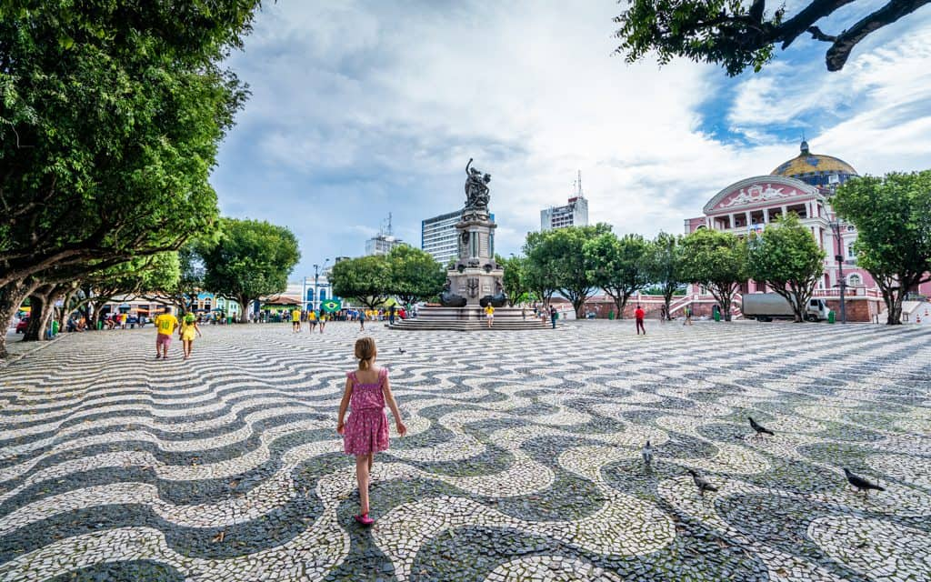 South America - The central square in Manaus, Brazil