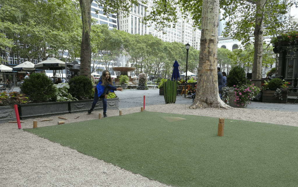 Playing free games at Bryant Park