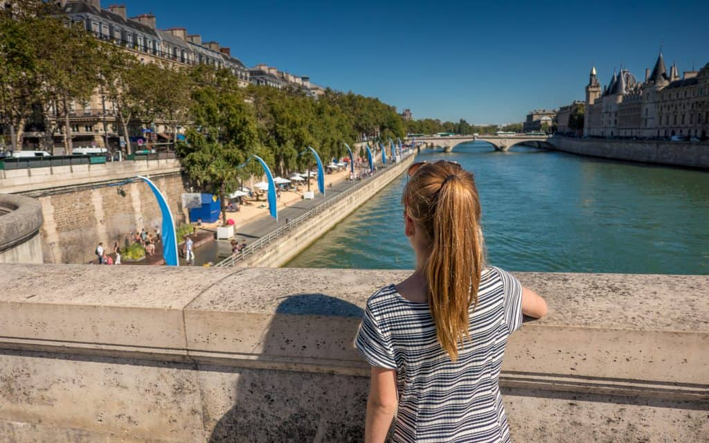 Paris on a Budget - Crossing over the Seine - on foot of course.