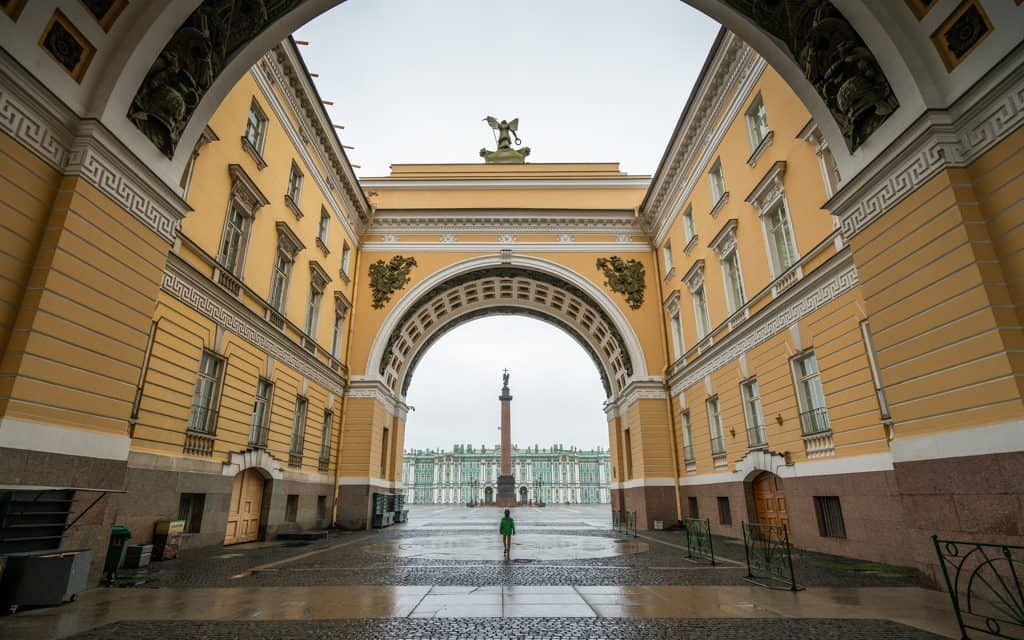 Family Travel Inspiration - Walking towards the Hermitage in St. Petersburg, Russia