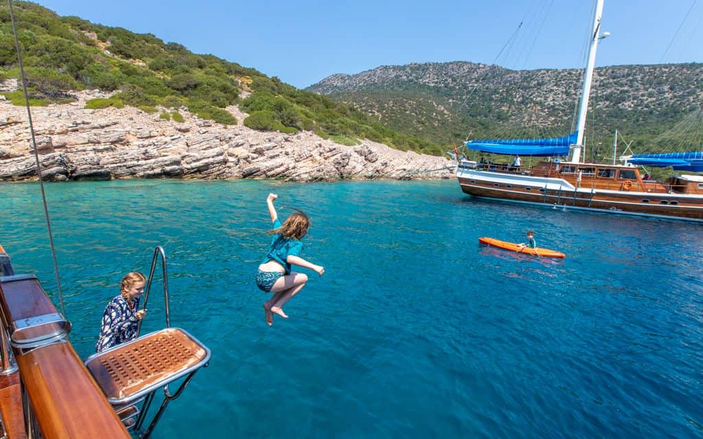 Tips for hot days - Jumping off our gulet near Bodrum, Turkey
