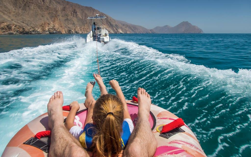 Tips for hot days - Tubing at Six Senses Zighy Bay in Oman helped us to cool off