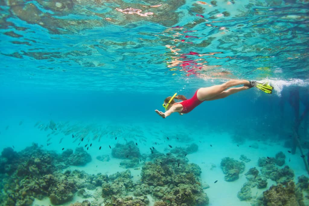 Young happy girl in snorkeling mask jump and dive underwater to see tropical fishes in coral reef sea pool. Travel activity, water sports, outdoor adventure, on family summer beach holiday with kids