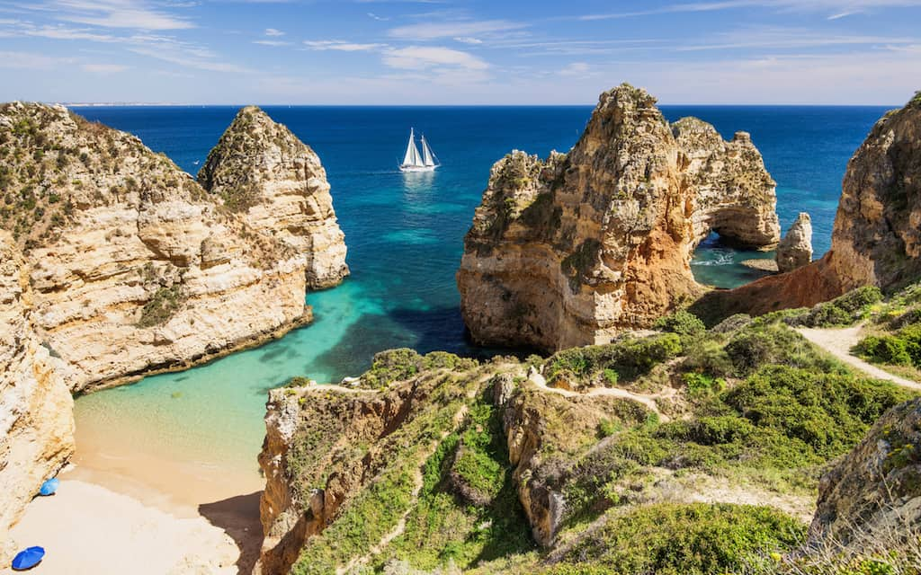 Scenic landscape and beach on Algarve coast, Portugal