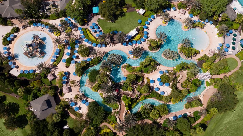 View of the water park at Reunion Resort from above