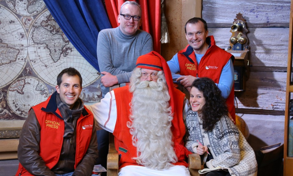 Mike Shubic and press crew with Santa-Claus in Rovaniemi Finland