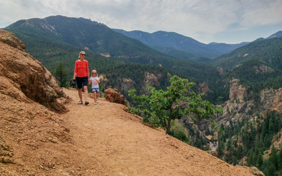 Colorado Springs with Kids - Mount Cutter Trail in Cheyenne Canyon. Seven Falls are visible on the right.