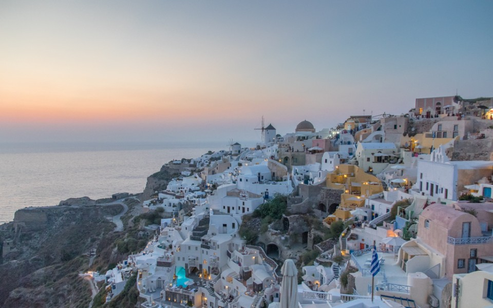 The sunset spot in Santorini, right after sunset