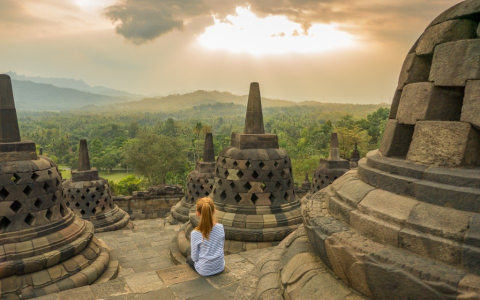 My daughter at an empty Borobudur temple