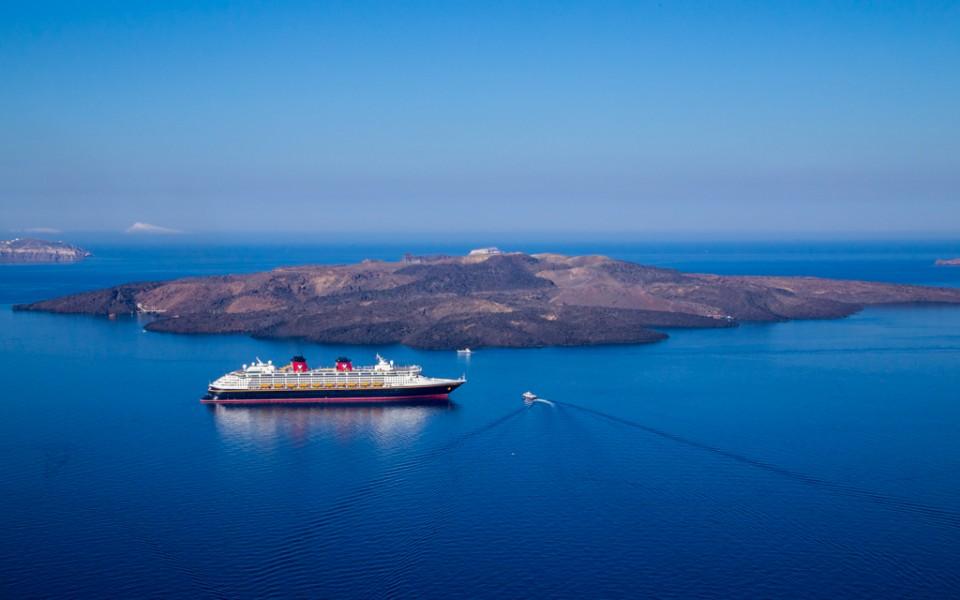 Disney Cruise - The Disney Magic anchored in Santorini, Greece