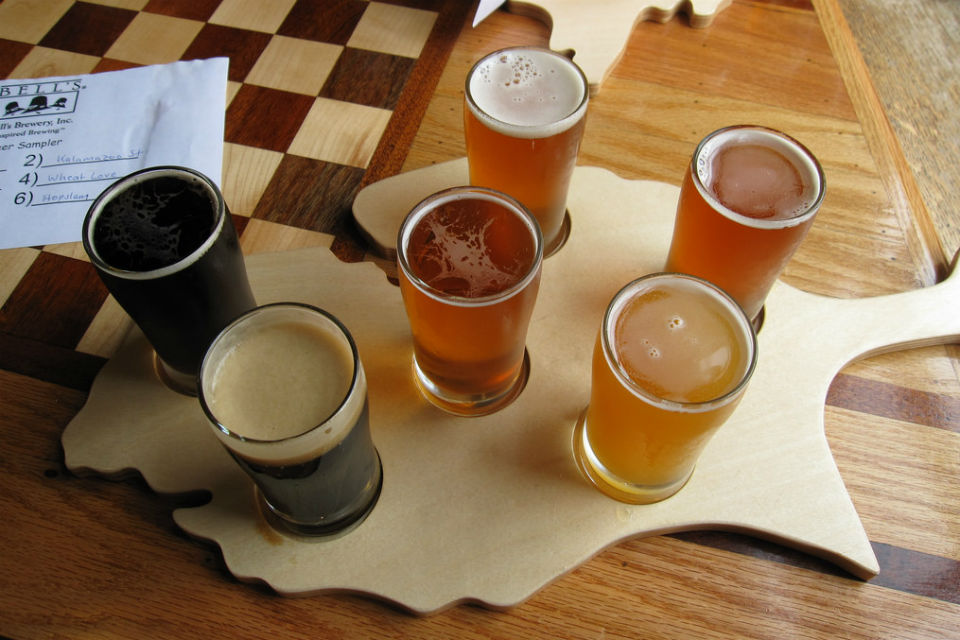 Seasonal Brews flight from Bell's Brewery in Comstock, MI