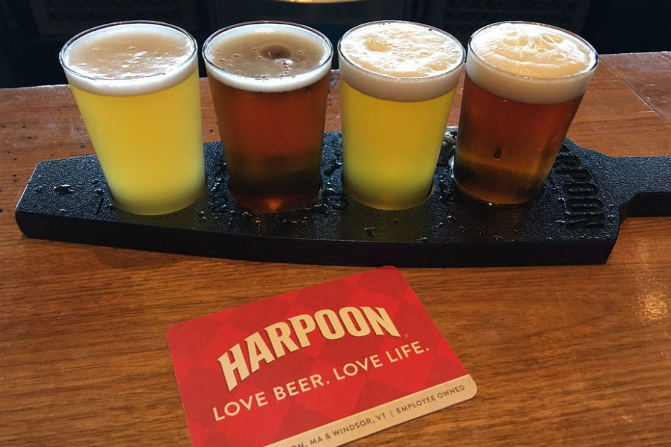Flight of Seasonal Brews at Harpoon Brewery in Boston, MA