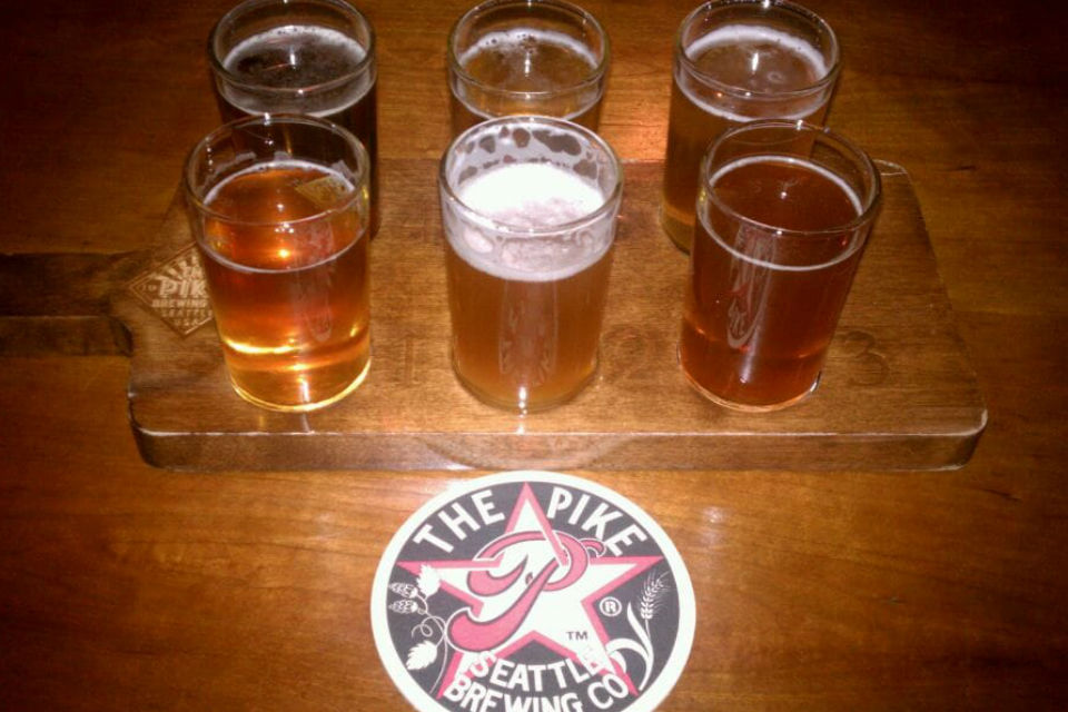 Flight of Seasonal Brews at The Pike Brewing Co., Seattle