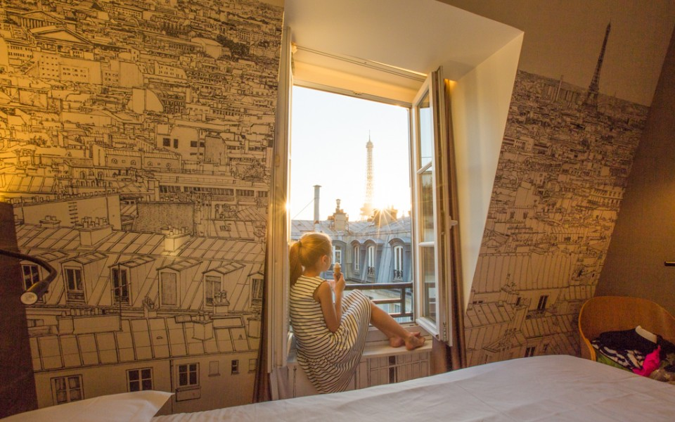 Paris with kids - I highly recommend getting a hotel room with a view of the Eiffel Tower!
